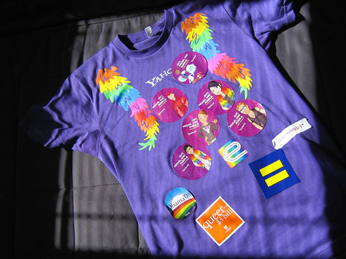 Yahoo! Pride t-shirt with pride stickers