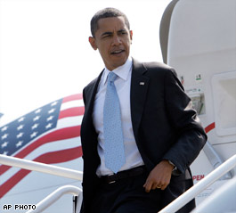 Obama getting out of a plane